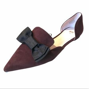 New! H&M Bow Pointed Toe Flats- Wine Women 39 US 8